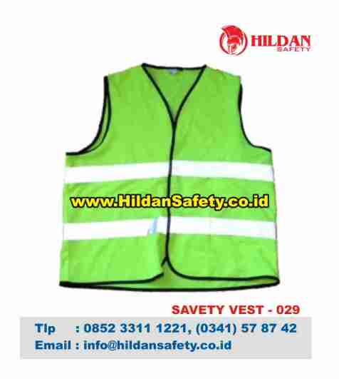 SV.029, Rompi Safety Hijau Garis Skotlet Putih