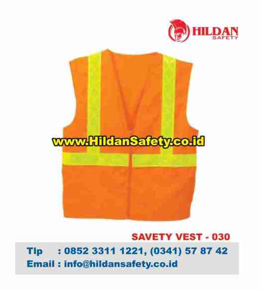 SV.030, Rompi Safety Orange Garis Skotlet Kuning