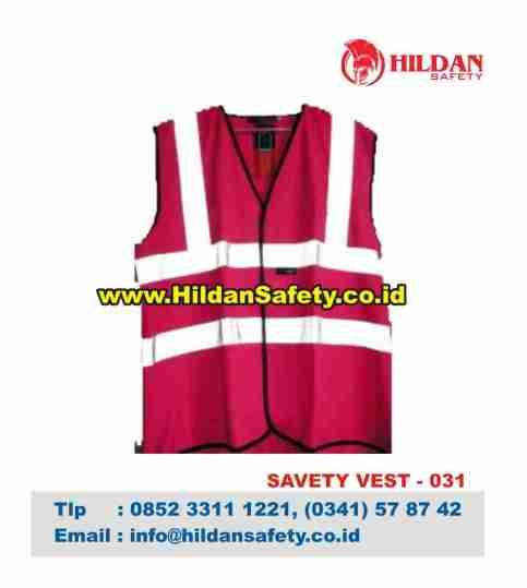 SV.031, Rompi Safety Pink Garis Skotlet Silver
