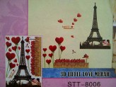 3D Eifel Love Merah stt8006 Wallsticker ecer, grosir untuk dekor kamar, ruang tamu, kamar bayi. 085776500991-bu Eva