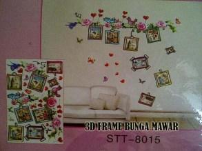 3D Frame Mawar Pink 2 stt8015 Wallsticker ecer, grosir untuk dekor kamar, ruang tamu, kamar bayi. 085776500991-bu Eva