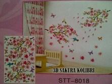 3D Sakura Kolibri stt8016 Wallsticker ecer, grosir untuk dekor kamar, ruang tamu, kamar bayi. 085776500991-bu Eva