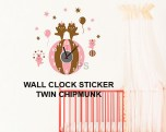 CD-876 twin chipmink Jam Wallsticker lucu dan unik 085776500991