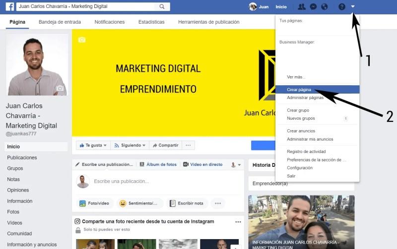 crea la página de facebook para tu negocio