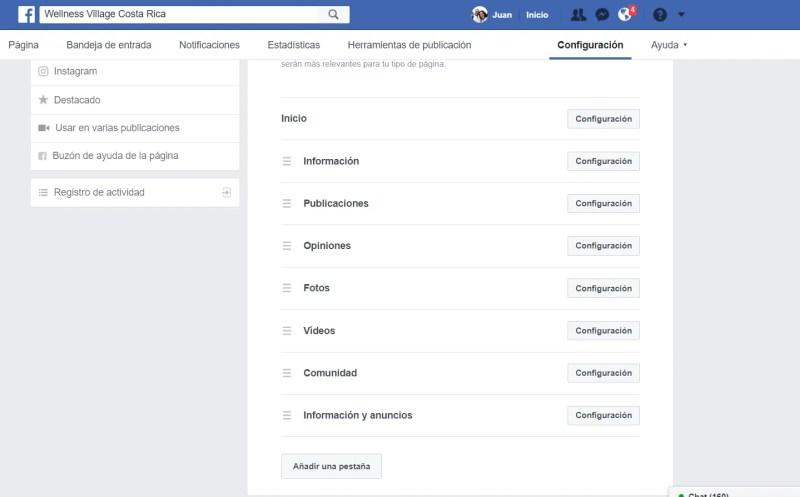 pestañas visibles de facebook