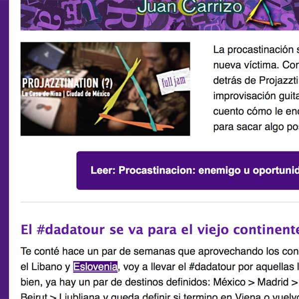 Juan Carrizo | Newsletter en HTML