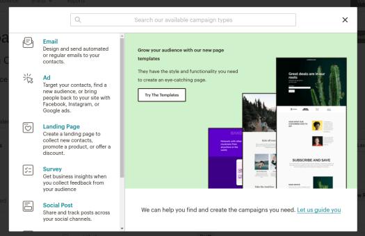 Crear una campaña en MailChimp