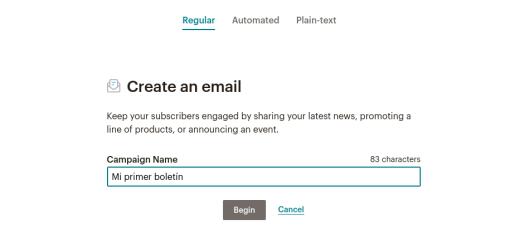 Crear un email en MailChimp