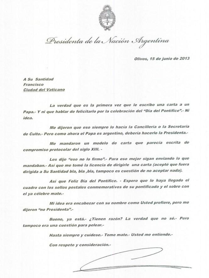 Una carta de Jefa de Estado a Jefe de Estado deplorable.