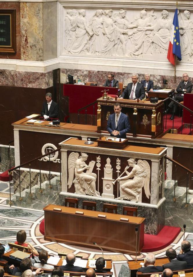 D. Felipe en el Parlamento Francés