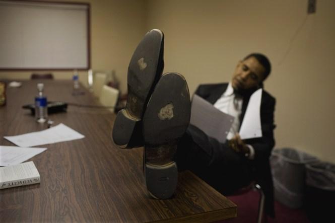 """Durante su campaña Obama """"desgastó"""" mucha suela. La foto es de Callie Shell"""