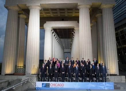 La foto de familia del encuentro de la OTAN en Chicago.