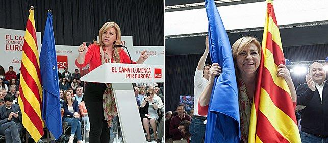 Valenciano con la Senyera y la bandera de la U.E. Una ofensa oportunista hacia la simbología oficial que representa a todos los españoles.