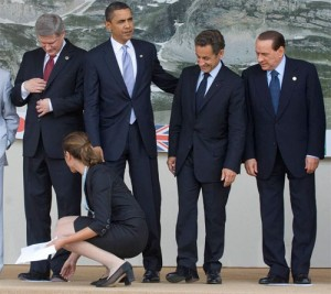 Obama, Berlusconi y Sarkozy.