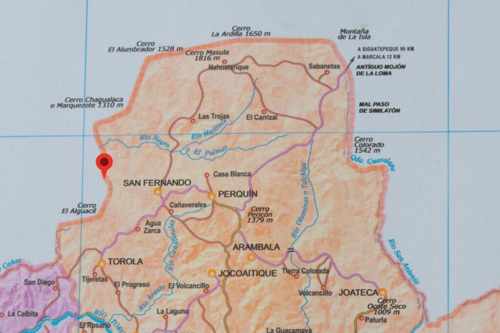 Mapa de Morazán con la ubicación de la cascada el Chorrerón de San Fernando