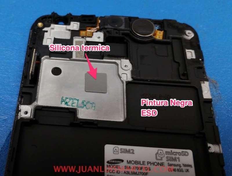 silicona de goma termica para refrigerar la cpu del telefono samsung j7