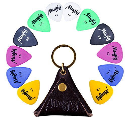 Mugig 12 Púas para Guitarras de Varios Tamaños Espesores 0.5 / 0.8 / 1 / 1.14 / 1.2 mm, de 6 Colores con una Bolsita de Cuero