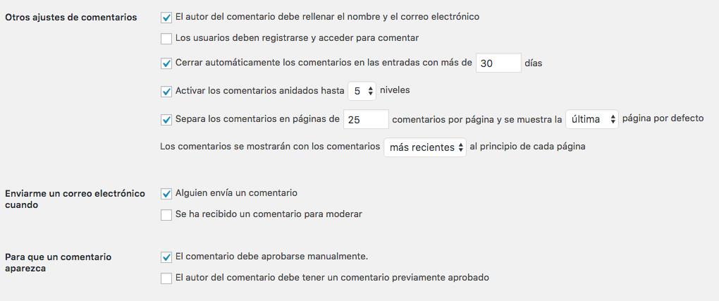 configuracion comentarios wordpress