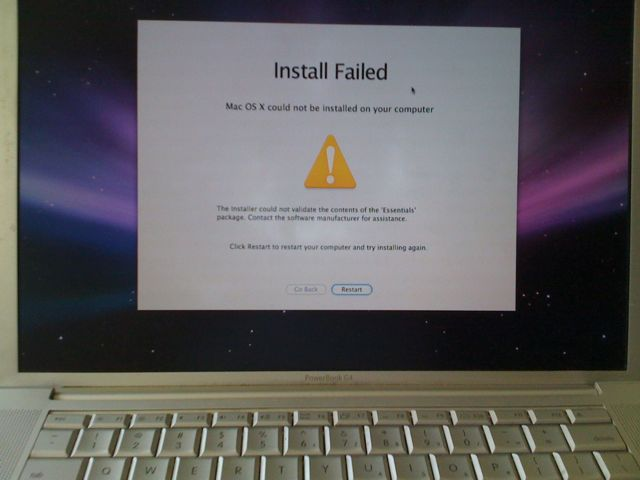 Mac OS X Leopard Failed Installation