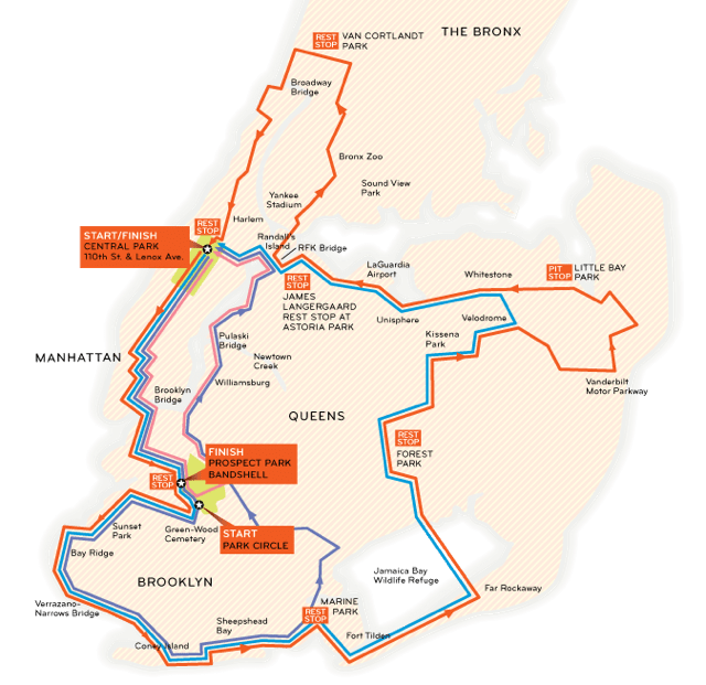 NYC Century 2014 Route Map