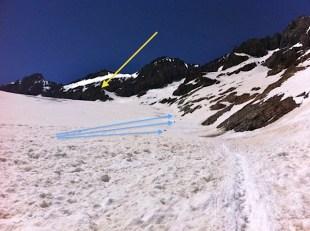 Subiendo por el margen derecho del Glaciar hacia el Refugio de Ecrins (amarillo). Alpinistas progresando (azules)