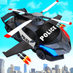 Unduh Flying Police Helicopter Car Transform Robot Games 7 Apk