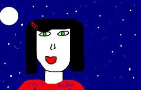 menina mostrantando as estrelas e a lua