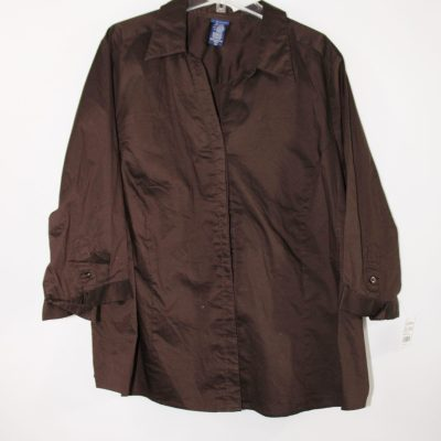 Basic Editions Brown Button Up Top | 2X