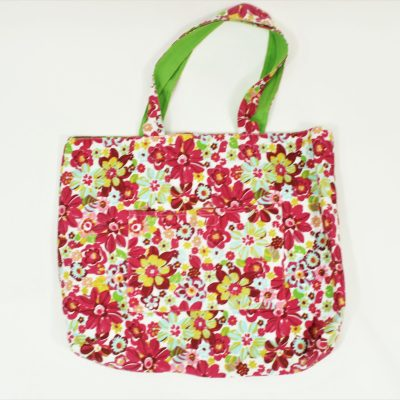 Pink & Green Floral Canvas Tote
