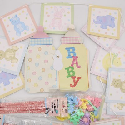 Assortment of Baby Girl Party Decorations