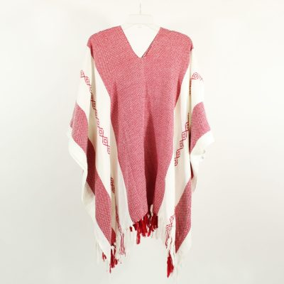 Knit Red & White Poncho | One Size Fits All