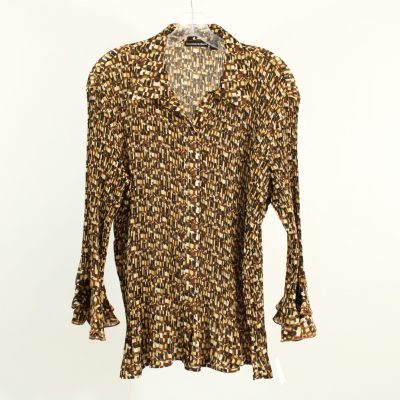 Essentials By Milano Brown Pattern Smocked Blouse | Size XL
