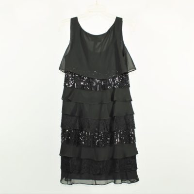 S.L. Fashions Black Sequined Tiered Dress | Size 8