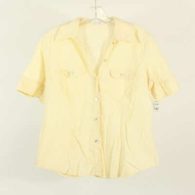 Van Heusen Yellow Linen Button Down Shirt | Size L