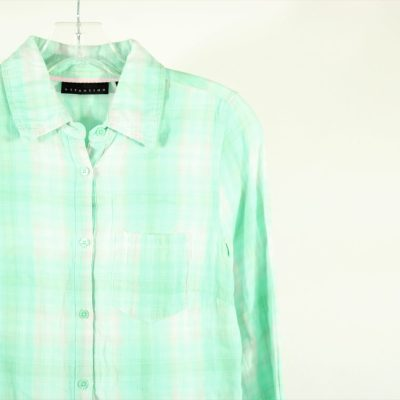 Attention Cotton Blue Plaid Shirt | Size XS