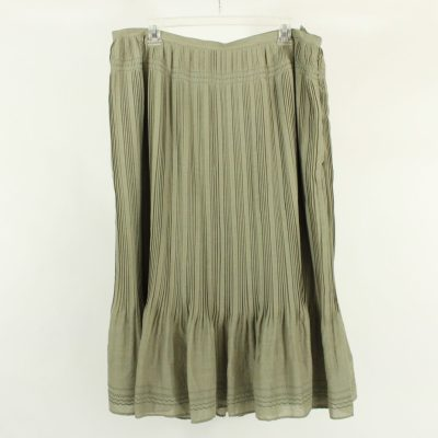 Talbots Olive Green Polyester Pleated Skirt | Size 18W Petite