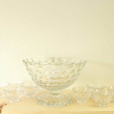 Vintage American Lady By Fostoria Glass Punch Bowl & 8 Glasses