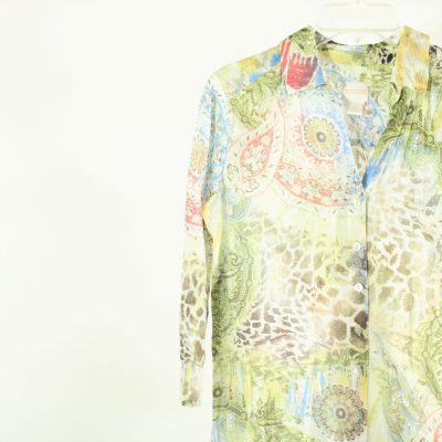 Chico's Colorful Patterned Button Down Cotton Top | Size 0 (Small)
