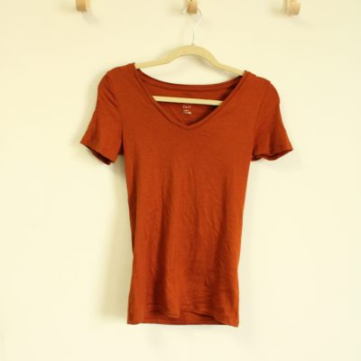 A New Day Rust Orange V-Neck | Size XS