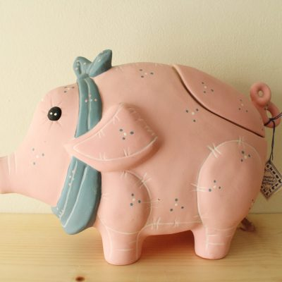 Country Kitchen Softies Ceramic Hand Painted Pink Elephant Large Storage/Cookie Jar