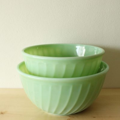 Vintage Fire King Oven Ware Jadeite Mixing Swirl Bowls | Set Of 2