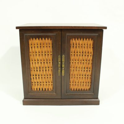 Wooden Wicker Front 8 Drawer Jewelry Box Made In Japan