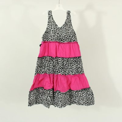 Basic Editions Pink Black 7 White Cheetah Print Tiered Dress | Size 10-12