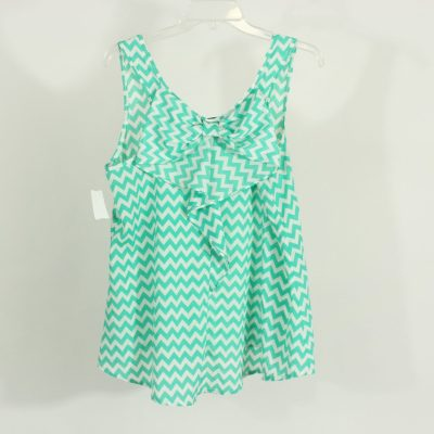 Moa Moa Blue Chevron Bow-Back Tank | Size L