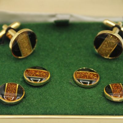 The Competition Black & Amber Colored Cuff Links & Tie Pins