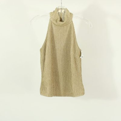 Cache Gold High-Neck Ribbed Top | Size 4