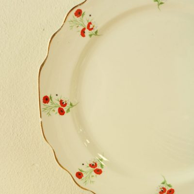 RARE Lido W.S. George White 293A Made In The USA Poppy China Dinner Plates | Set Of 7