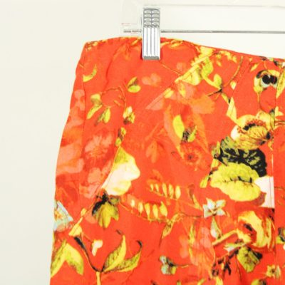 Premise Linen Blend Orange Floral Skirt | Size 14