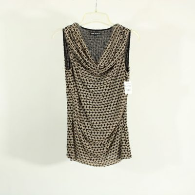 Cable & Gauge Black & Tan Patterned Scoopneck Top | Size S