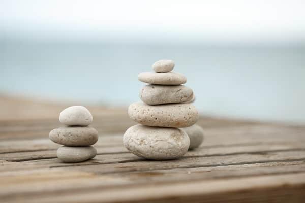 mindfulness meditation at midlife+stones